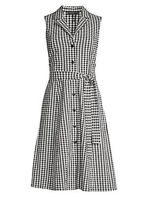 Sleeveless Gingham Dress by Donna Karan New York