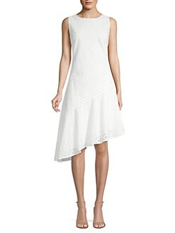 da7cf3ea17d Donna Karan New York. Eyelet Asymetrical Sheath Dress