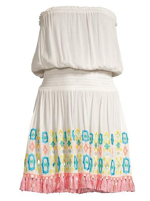 Isobel Strapless Blouson Fringe Dress