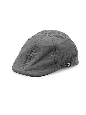 """Image of Driving cap crafted in pure cotton and boasting six-panel construction. Cotton Spot clean Imported SIZE Brim width, 2.25"""". Men Accessories - Fashion Accessories > Saks Fifth Avenue. Block Headwear. Color: Black. Size: Large/XL."""