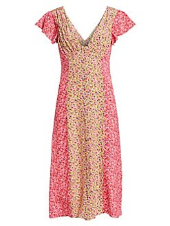 1fcae63dbab3cd Cinq à Sept. Jessica Colorblock Floral Short-Sleeve Dress
