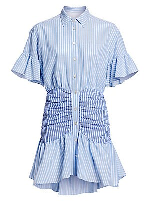"Image of Airy bell sleeves and a contrasting ruched waist add volume and softness to shirtdress silhouette. Spread collar Short bell sleeves Button front Ruched waist Flounce high-low hem Cotton Dry clean Imported SIZE & FIT Fit-and-flare silhouette About 34"" from"