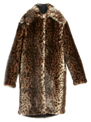 Rokh Coats Faux Fur Leopard Coat