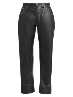 High-Rise Wide-Leg Leather Trousers by Loewe, available on saksfifthavenue.com for $717.6 Hailey Baldwin Pants Exact Product