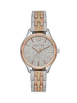 9d9f026800b9 Michael Kors - Lexington Three-Hand Pavé Crystal Tri-Tone Stainless Steel  Watch