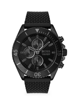Hugo Boss Watches Ocean Edition Chronographic Mesh Rubber-Strap Watch