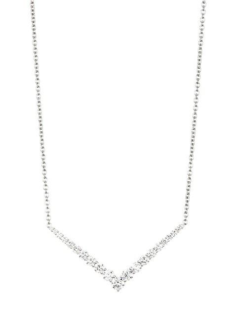 Aria 18K White Gold & Diamond Bar Pendant Necklace