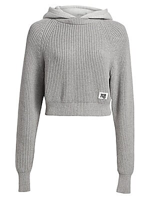 """Image of A heathered hood enhances the casual-with-attitude feel of this cropped sweater. Attached hood and crewneck Long sleeves Pullover style Cotton/polyester/nylon/elastane Dry clean Imported SIZE & FIT Relaxed, cropped silhouette About 20"""" from shoulder to he"""