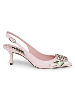 ac39d66f9bc QUICK VIEW. Dolce & Gabbana. Crystal Floral Leather Slingbacks