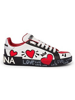 5bd1c1920d Dolce   Gabbana. Painted Heart Leather Sneakers