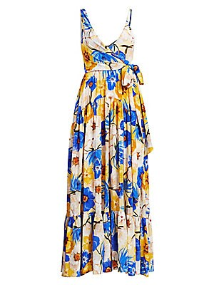 "Image of A tropical floral motif adorns this fluttering silk maxi with asymmetric wrap neckline. V-neck Shoulder straps Wrap front with self-tie closure Gathered tiered skirt V-back Silk Dry clean Made in United Kingdom SIZE & FIT Wrap silhouette About 44"" from sh"