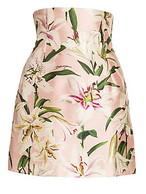 Lily Print High Waist Silk Skirt by Dolce & Gabbana