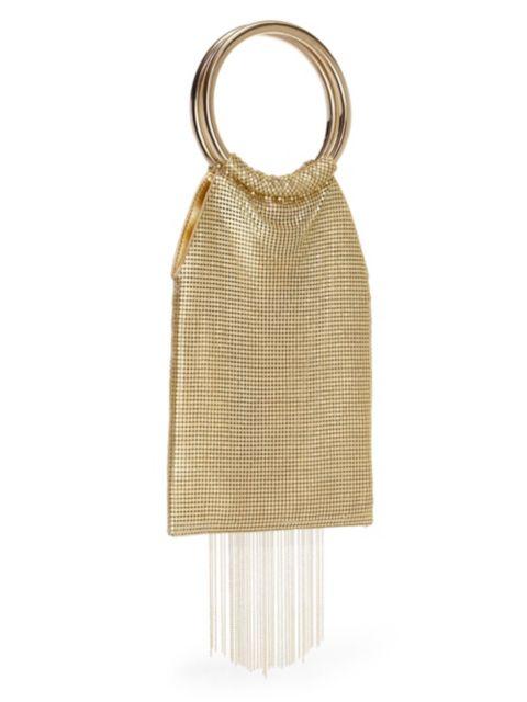 Whiting & Davis Gold Rush Fringe Metal Mesh Bracelet Clutch | SaksFifthAvenue
