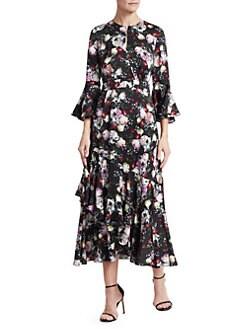 e6fb429837 Erdem. Florence Floral Ruffle Midi Dress