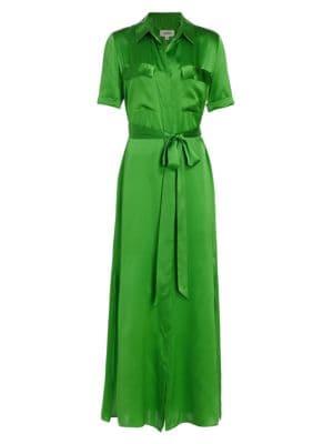 L'agence Dresses Klement Satin Maxi Shirtdress