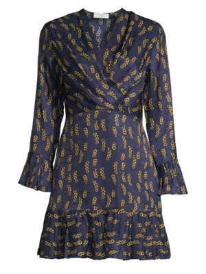 Sandro Dresses Chain-Print Ruffle Mini Dress