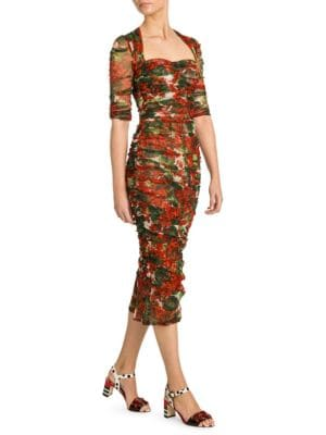 Dolce Amp Gabbana Tulle Ruched Floral Dress