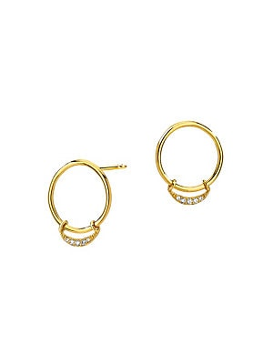 "Image of From the Eclipse Collection. Gleaming diamonds in crescent form elevate 14K gold hoop earrings. Diamonds, 0.0392 tcw 14K yellow gold Post back Imported SIZE Drop, about 0.5"". Fashion Jewelry - Modern Jewelry Designers > Saks Fifth Avenue. Celara. Color: G"
