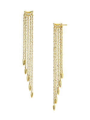 "Image of A diamond-encrusted baguette centers cascading fringed earrings crafted from 14K yellow gold. Diamond, 0.0588 tcw 14K yellow gold Post back Imported SIZE Drop, about 2"". Fashion Jewelry - Modern Jewelry Designers > Saks Fifth Avenue. Celara. Color: Gold."