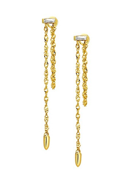 14K Gold & Diamond Chain Drop Earrings