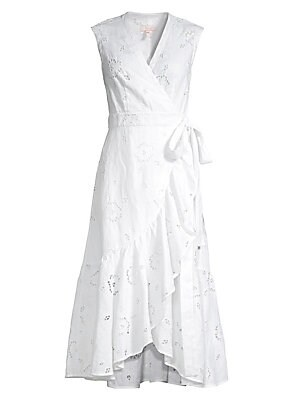 Sleeveless Lace Eyelet Wrap Dress by Rebecca Taylor