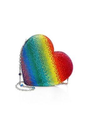 Judith Leiber Rainbow Heart Crystal Clutch