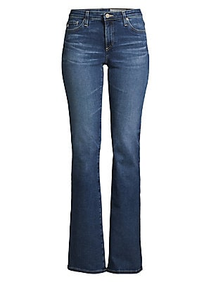 Image of A wardrobe staple, these five-pocket jeans flaunt a classic bootcut silhouette with a contemporary mid rise. Cut from lightweight cotton-blend with subtle fading, these jeans offer comfortable wear-anywhere style. Belt loops Zip fly with button closure Fi