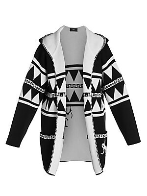 Image of A bold graphic print with pixelated monkey motif at the back lends quirky appeal to this hooded cardigan. Knit in a heavyweight wool, this topper features a contrast lining and braided trim for added interest. Attached hood Long sleeves Open front Braided