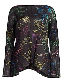 51a91e6fd4c0db Pleats Please Issey Miyake. In Her Dreams Printed Long Sleeve Top