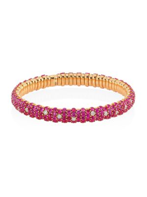 Zydo 18k Rose Gold Diamond Pink Sapphire Stretch Bracelet