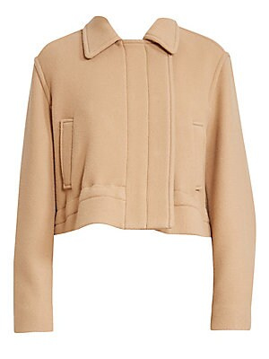 Image of A boxy cut gives this jacket an air of nonchalance, ideal for tossing over a simple outfit for to add that element of cool. It's crafted in a virgin wool-blend for a luxurious finish. Spread collar Long sleeves with snap closures Concealed snap button fro