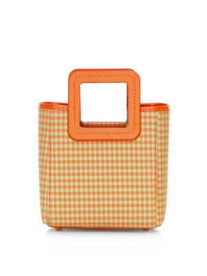 Staud Mini Shirley Gingham Leather Nylon Tote