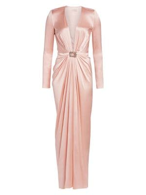 Alexandre Vauthier Stretch Satin Belted Gown