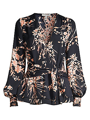 Arin Floral Peplum Wrap Blouse by Joie
