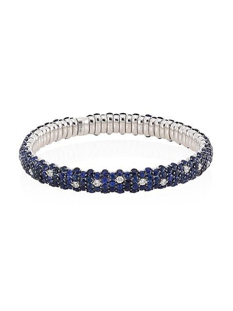 Stretch 18K White Gold, Blue Sapphire & Diamond Bracelet