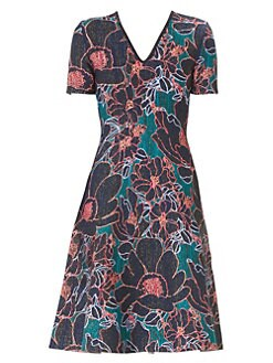 1ffd3801cd54d QUICK VIEW. Carolina Herrera. Floral A-Line Knit Dress
