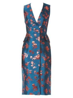 Carolina Herrera Floral Double Breasted Sheath Dress