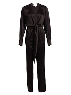 57349ac26664 Deep V-Neck Tied Satin Jumpsuit BLACK. QUICK VIEW. Product image