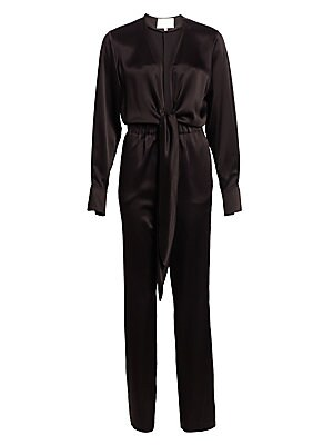 Image of Crafted in sleek satin, this fluid long-sleeve jumpsuit is finished with a sexy plunging V-neck that ties at the front for a casual feel. Its elasticized waistband and flattering tailored fit creates an easy-to-wear, polished outfit option. Deep V-neck Lo