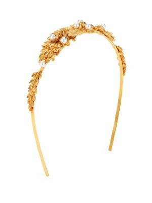 Oscar De La Renta Acorn Goldtone & Swarovski Pearl Headband