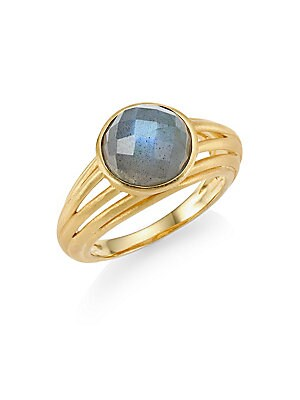 """Image of A single faceted labradorite stone is set in 22K yellow goldplated band for a statement ring. 22K yellow goldplated brass Labradorite Made in Canada SIZE Width, about 0.4"""". Fashion Jewelry - Trend Jewelry > Saks Fifth Avenue. Dean Davidson. Color: Gold. S"""
