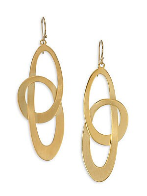 """Image of 18k goldplated drop earrings with a looping design. 22k goldplated Hook back closure Made in Canada SIZE Drop, 2.25"""". Fashion Jewelry - Trend Jewelry > Saks Fifth Avenue. Dean Davidson."""