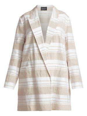 Lafayette 148 Jackets Malika Stripe Linen-Blend Jacket