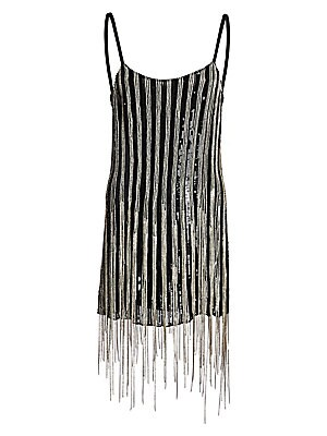 Image of A simple sheath dress in a barely-there slip silhouette is elevated for evening with a dripping-in-jewels finish. Stripes of shimmering sequins and dazzling crystal fringe are blended together for a modern take on a disco look. Scoopneck Spaghetti straps