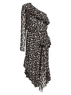 5d049e22acf Amen. One-Shoulder Silk Ruffle Dress