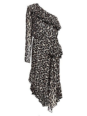 Image of Go for a bold evening look with this asymmetric one-sleeve midi dress in a diaphanous silk. An eye-catching leopard print is embellished with a scattering of glossy sequins, while tiers of gauzy ruffles highlight the neckline and hem. Asymmetric neckline