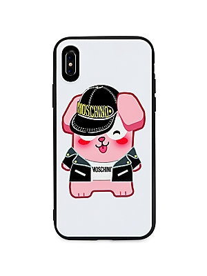 Image of From the Moschino x Sims Pixel Capsule Collection. Quirky lucky bunny in iconic Moschino pieces adorn this phone case. Acrylic/polyurethane Spot clean Imported SIZE Fits iPhone X. Designer Collec - Moschino Signature > Saks Fifth Avenue. Moschino. Color: