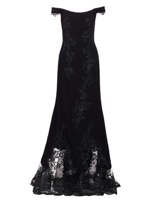Rene Ruiz Collection Lace Crepe Off The Shoulder Mermaid Gown