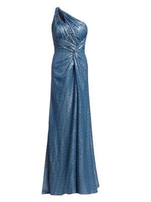 Rene Ruiz Collection One Shoulder Sequin Mesh Gown