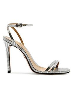 a8786752037 Schutz. Altina Metallic Leather Slingback Sandals